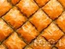 Рецепта Домашна баклава с готови кори, плънка от орехи и захарен сироп - класически десерт